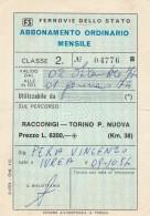 ABBONAMENTO FERROVIARIO MENSILE RACCONIGI TORINO 1974 (BV548 - Abbonamenti