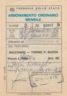 ABBONAMENTO FERROVIARIO MENSILE RACCONIGI TORINO 1976 (BV549 - Abbonamenti
