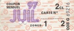 ABBONAMENTO MENSILE LUGLIO 1997 FRANCIA  (BV554 - Abbonamenti