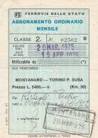 ABBONAMENTO FERROVIARIO MENSILE MONTANARO RACCONIGI TORINO 1975 (BV588 - Abbonamenti