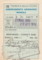 ABBONAMENTO FERROVIARIO MENSILE MONTANARO RACCONIGI TORINO 1974 (BV589 - Abbonamenti