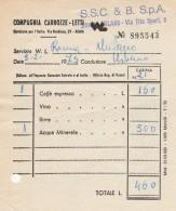 RICEVUTA 1973 COMPAGNIA DELLE CARROZZE LETTI TURISMO (BV611 - Italia