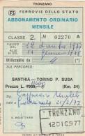 ABBONAMENTO FERROVIARIO MENSILE 1977 SANTHIA-TORINO P.SUSA (BV636 - Abbonamenti