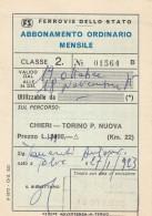 ABBONAMENTO FERROVIARIO MENSILE 1975 CHIERI-TORINO P.NUOVA (BV637 - Abbonamenti