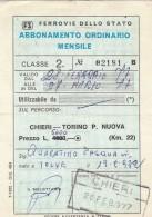 ABBONAMENTO FERROVIARIO MENSILE 1977 CHIERI-TORINO P.NUOVA (BV639 - Abbonamenti