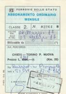 ABBONAMENTO FERROVIARIO MENSILE 1977 CHIERI-TORINO P.NUOVA (BV640 - Abbonamenti