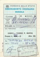 ABBONAMENTO FERROVIARIO MENSILE 1977 CHIERI-TORINO P.NUOVA (BV641 - Abbonamenti