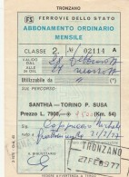ABBONAMENTO FERROVIARIO MENSILE 1977 SANTHIA-TORINO P.SUSA (BV642 - Abbonamenti