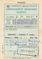 ABBONAMENTO FERROVIARIO MENSILE 1977 SANTHIA-TORINO P.SUSA (BV643 - Abbonamenti