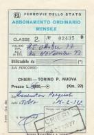 ABBONAMENTO FERROVIARIO MENSILE 1977 CHIERI-TORINO P.NUOVA (BV644 - Abbonamenti