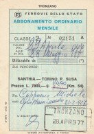 ABBONAMENTO FERROVIARIO MENSILE 1977 SANTHIA-TORINO P.SUSA (BV647 - Abbonamenti
