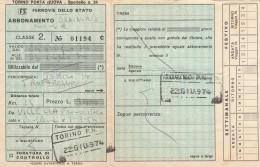 ABBONAMENTO FERROVIARIO MENSILE 1974 TORINO TROFARELLO (BV648 - Abbonamenti