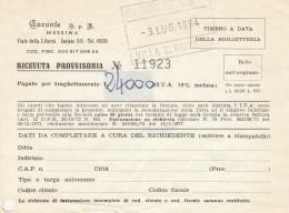 BIGLIETTO TRAGHETTO 1954  CARONTE MESSINA (BV664 - Carte D'imbarco Di Navi