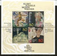 Centennial: Klimt, Schiele, Wagner & Moser. Bloc Feuillet Neuf ** 2018 D'AUTRICHE - Arte