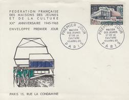 Enveloppe  FDC  1er  Jour  FRANCE  MAISONS  DES  JEUNES  ET  DE  LA  CULTURE    PARIS   1965 - 1960-1969