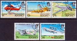 ALDERNEY 1985 SG A18-A22 Compl.set Used Alderney Airport - Alderney
