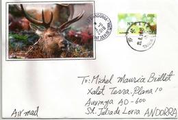 Cerf De Taïwan ( ATM Adhesive Stamp)  2018, Sur Lettre Adressée Andorra, Avec Timbre à Date Arrivée - Stamps