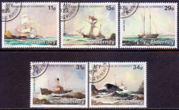 ALDERNEY 1987 SG A32-A36 Compl.set Used Alderney Shipwrecks - Alderney