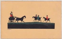 SILHOUETTES CABALLOS CHEVAL HOURSES  CABALGANDO CHEVACHEUR. DORA BAUM. HERMAN A WIECHMANN. VOYAGEE CIRCA 1920- BLEUP - Silhouetkaarten