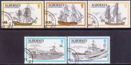 ALDERNEY 1990 SG A42-A46 Compl.set Used Royal Navy Ships - Alderney
