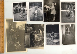 Photographie Originale : X15 Photos Fillettes Avec Jouets Ours En Peluche Girls With Toys Teddy Bear  1930-1960 - Objects