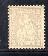 28/1500 - SVIZZERA 1862 , 2 Cent Unificato N. 33  *  . Carta Bianca - Nuovi