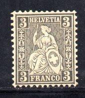 29/1500 - SVIZZERA 1862 , 3 Cent Unificato N. 34  *  . Carta Bianca - 1862-1881 Helvetia Assise (dentelés)
