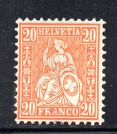 32/1500 - SVIZZERA 1862 , 20 Cent Unificato N. 37  *  . Carta Bianca . - 1862-1881 Helvetia Assise (dentelés)