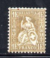 33/1500 - SVIZZERA 1862 , 1  Franco Unificato N. 41  *  . Carta Bianca . - 1862-1881 Helvetia Assise (dentelés)