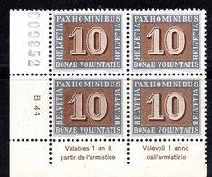 40/1500 - SVIZZERA 1945 PACE PAX : Quartina Numerata Ed Integra Del 10 Cent *** MNH - Ungebraucht