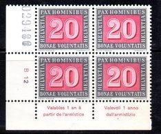 41/1500 - SVIZZERA 1945 PACE PAX : Quartina Numerata Ed Integra Del 20 Cent *** MNH - Ungebraucht