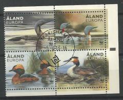 Aland 2013 N°371/374 Oblitérés  WWF Avec Oiseaux, Canards - Aland