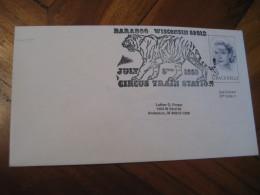 Circus Train BARABOO 1983 Cancel Cover USA Hunting Tigers Tigre Tigres Cats Of Prey Feline Felinos Felin Felins - Big Cats (cats Of Prey)