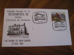 Universidad De San Marcos Lima PERU Las Palmas De Gran Canaria Canrias 19685 Cancel Cover SPAIN Colon Columbus - Pérou