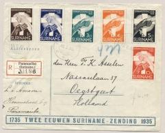 Suriname - 1936 - 2 Eeuwen Suriname - Zending, Serie Op R-cover Van Paramaribo Naar Oegstgeest / Nederland - Suriname ... - 1975
