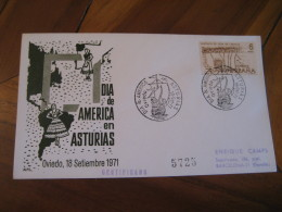 Dia De America En Asturias OVIEDO 1971 Cancel Cover SPAIN Colon Columbus - 1931-Aujourd'hui: II. République - ....Juan Carlos I