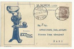 CP0031-CARTOLINA PUBBLICITARIA SCREMATRICE BALTIC M. SORDI LODI - 1900-44 Victor Emmanuel III