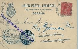 1900 , MADRID - TARJETA POSTAL CIRCULADA A BERLIN , REDIRIGIDA A GRÜNAU , LLEGADA , FR. ED. 218 - Lettres & Documents