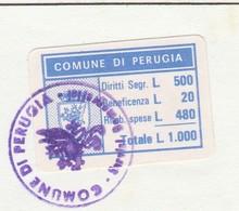 Perugia. 1991. Marca Municipale Cumulativa  L. 1.000, Su Certificato Di Residenza - Otros