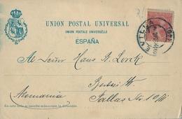 1899 , SEVILLA  - TARJETA POSTAL CIRCULADA A BERLIN , FR. ED. 218 , 10 CTS. BERMELLÓN - 1889-1931 Royaume: Alphonse XIII