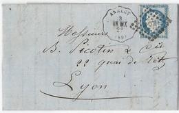Lettre Avec Cérès N° 60 TAD Convoyeur Station ANNECY 1873 - Marcophilie (Lettres)