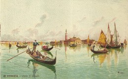 "952 "" VENEZIA - ISOLA SAN GIORGIO "" CARTOLINA   ILLUSTRATA ORIG.  NON SPEDITA. - Venezia"