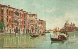 """954 """" VENEZIA - CANAL GRANDE E CHIESA DELLA SALUTE """" CARTOLINA   ILLUSTRATA ORIG.  NON SPEDIT - Venezia"""