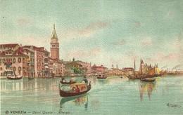 """955 """" VENEZIA - CANAL GRANDE - ALBERGHI """" CARTOLINA   ILLUSTRATA ORIG.  NON SPEDIT - Venezia"""