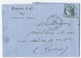Lettre Avec Cérès N° 60 C TAD Convoyeur Station Belleville 28/11/1874 - Marcophilie (Lettres)