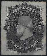 Brésil Don Pedro N°35, 200 Reis Oblitéré Bouchon à 4 Quarts Superbe - Brésil