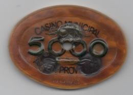 Plaque Ovale : Casino Municipal Aix-en-Provence 5000 Francs : Numérotée 0008 - Casino