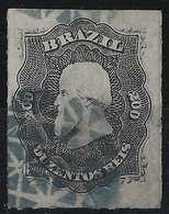Brésil Don Pedro N°35, 200 Reis Oblitéré Bouchon Filigrané Bleu RR - Brésil