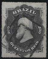 Brésil Don Pedro N°35, 200 Reis Oblitéré Double Carré R - Brésil