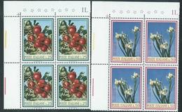Italia 1967; Flora: Ramo Di Melo + Iris. Serie Completa In Quartine Di Angolo Superiore. - 6. 1946-.. Repubblica